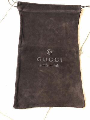 "Vintage Gucci Suede Bag Dark Brown with Draw String Sackpack 9"" x 15"""