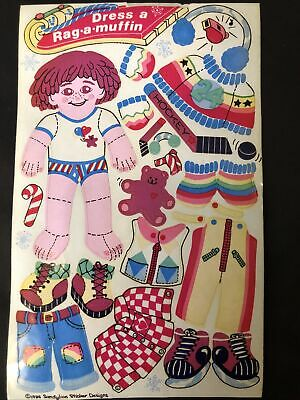 1 VINTAGE 80'S SANDYLION DRESS A RAG A MUFFIN ACTIVITY STICKER SHEET 3 X 4 1/2