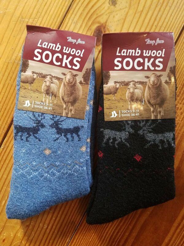 2 Pair Lambs Wool Hiking Socks Unisex 9-11