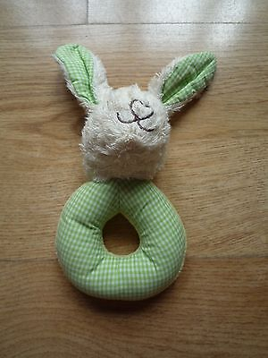 Baby hand rattle toy green rabbit long ear shake soft ring