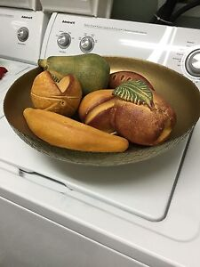 Huge decorator bowl & clay fruits