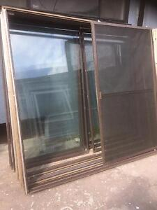 3 to choose from Brown aluminium sliding doors Casula Liverpool Area Preview