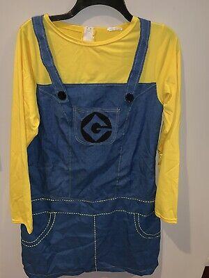 Minion Costume Suspenders (WOMEN'S DESPICABLE ME MINION DRESS SUSPENDERS COSTUME SIZE M)