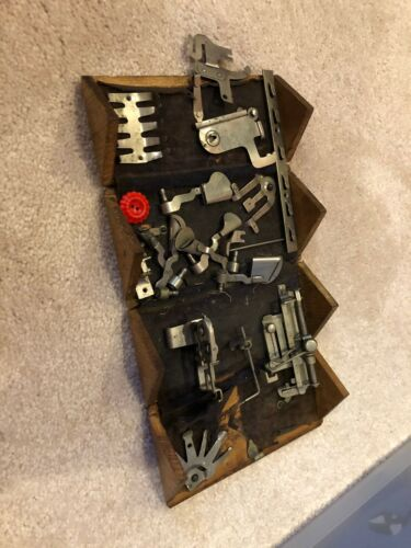 Vintage Singer Patent 1889 Wood Box Puzzle Sewing Machine Accessory Attachments