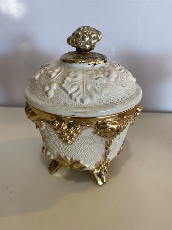 Vintage Footed Lidded  Candy / Powder Dish Grape Design White And Gold Chic