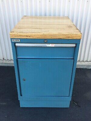 Lista 1-drawer1-shelf Metal Cabinet Blue 22-14x W X 28.5d X 35h Maple Top