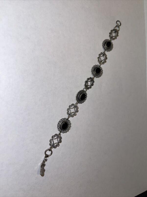 Beau Sterling silver ornate clip link bracelet black obsidian