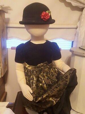 Holiday Dress for Toddler 24 months velvet bodice Moss green black flocking