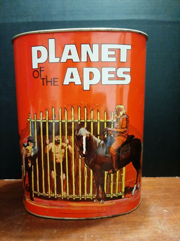 """ORIGINAL 1967 PLANET OF THE APES METAL TRASH CAN 13"""" TALL DECENT SHAPE."""