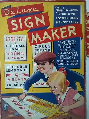 Vintage 1920's DELUXE Sign Maker Stencil Set by ALL FAIR in Box GREAT IMAGES