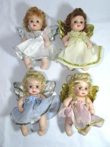 """4 Vintage Classic Creations All Porcelain Angel Baby Dolls 6"""""""
