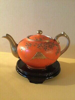 Antique Japanese porcelain hand painted gold tea pot 4.5 inch tall