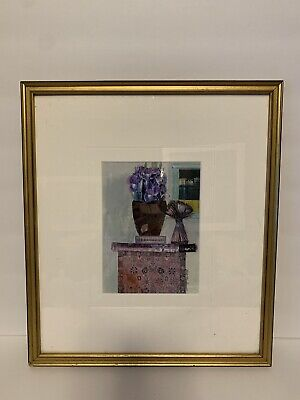 Original Watercolor Collage Flowers Signed By Betty Neubauer