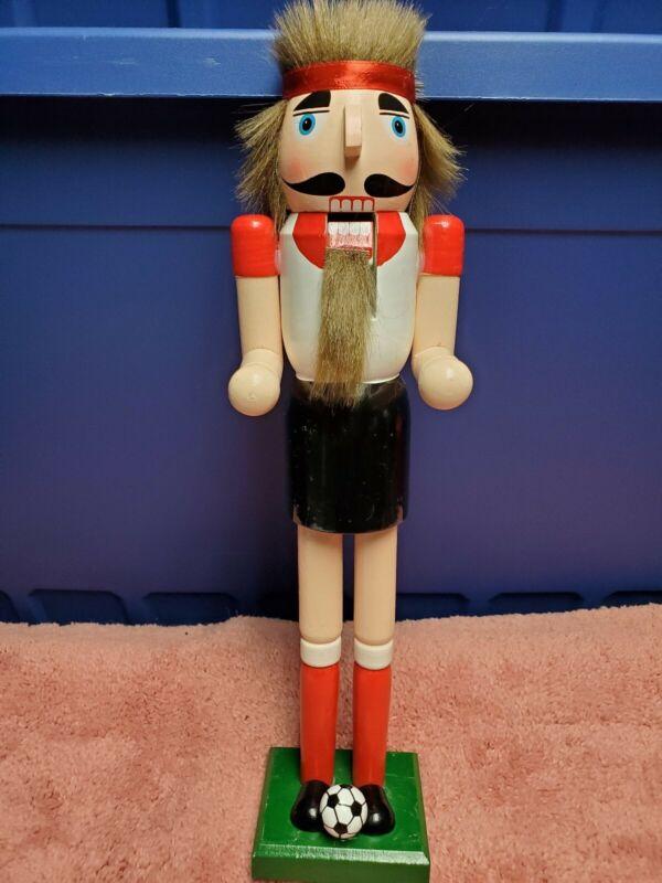 """Ashland Christmas Nutcracker Soccer Man Collectible Nutcracker 16"""" Tall NWT"""