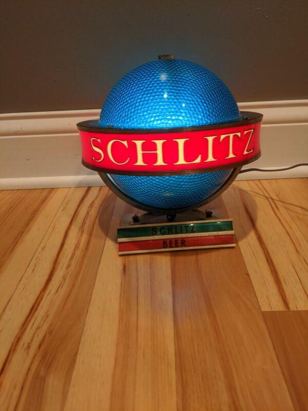 Vintage Schlitz Beer Rotating Motion Globe Sign Stand Up Display Sign
