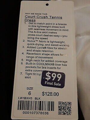 NWT Lululemon Court Crush Tennis Athleisure Dress Sz 6 Black Nulux LW1BXHS $128