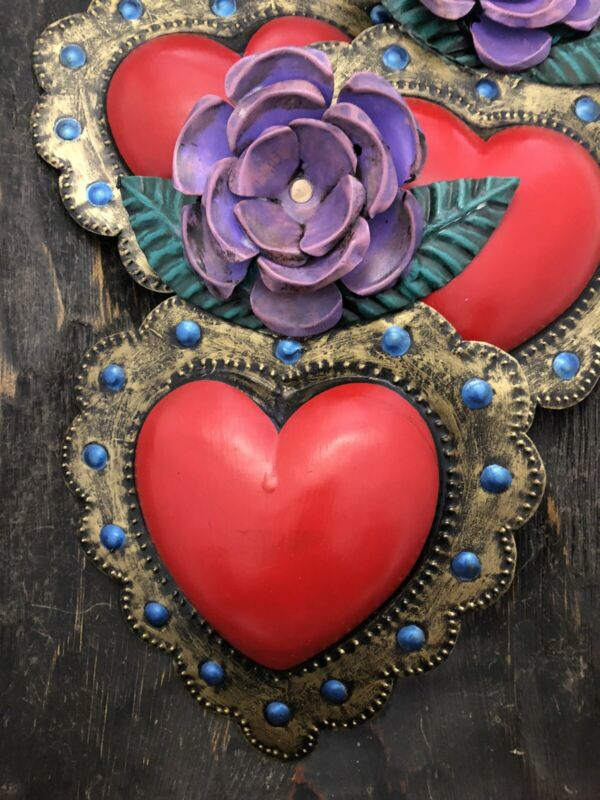 Painted Tin Heart with Purple Flower, Layered Rose Heart