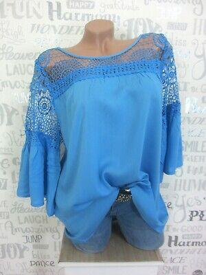 Ärmel Tunika Bluse (Bluse Tunika Shirt Häkel Spitze Volant Ärmel L42 XL44 XXL46 XXXL48 Blau L958)