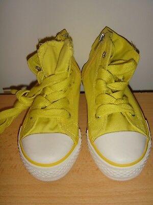 Kinder Sneakers, Gr. 28, gelb, hohe Sportschuhe,  Schnürschuhe/Reißverschluß