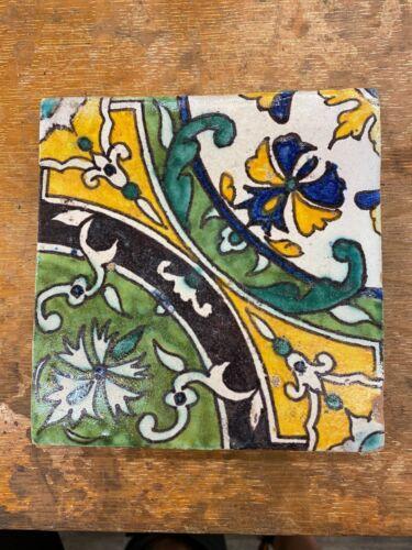 Antique Tunisian Decorated Tile 6 inch