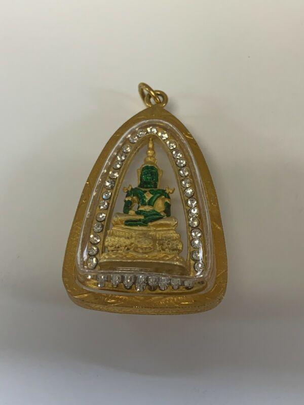 THAI AMULET, BUDDHA, PHRA KAEW MORAKOT, GOLD, GREEN, DIAMONDS - BRAND NEW