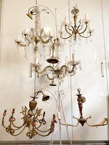 6x Vintage Chandeliers   100's Glass Drops & Hardware for making