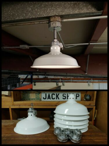 "Vintage White Porcelain Enamel Industrial Light Fixture 14"" Barn Gas Station"