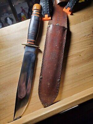 "8"" MSA MARBLES KNIFE W/ LIGNUM VITAE POMMEL W/ PROPER SHEATH"