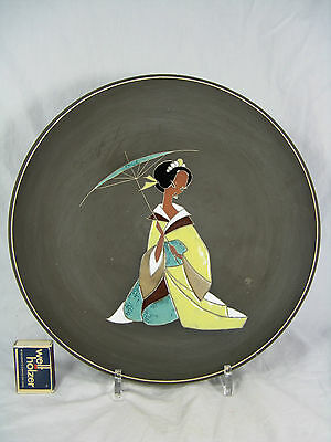 "50´s design pottery wall plate ""Japanese girl"" Keramik Wandteller 428 2  32 cm"