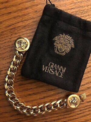 AUTHENTIC GIANNI VERSACE VINTAGE '90s MEDUSA CHAINED BRACELET UNISEX GOLD PLATED