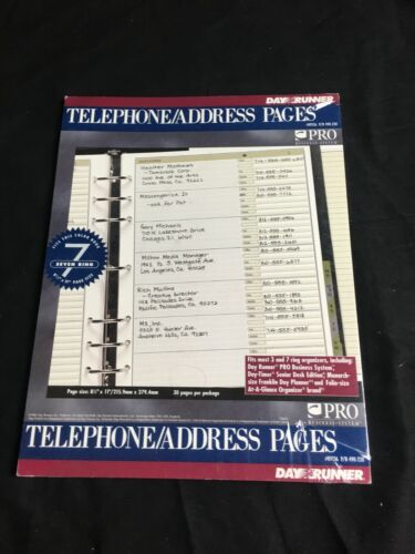 "Day Runner Telephone Address 30 Pages Sheets  8.5""x 11 (free shipping)"