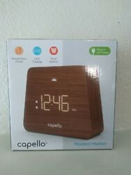 Capello Digital LED Modern Mantle Dual Alarm Clock, Wood Grain Finish