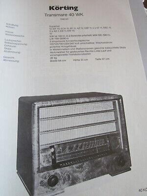 Usado, Schaltplan N Radio Körting Transmare 40 WK, 1940 segunda mano  Embacar hacia Argentina