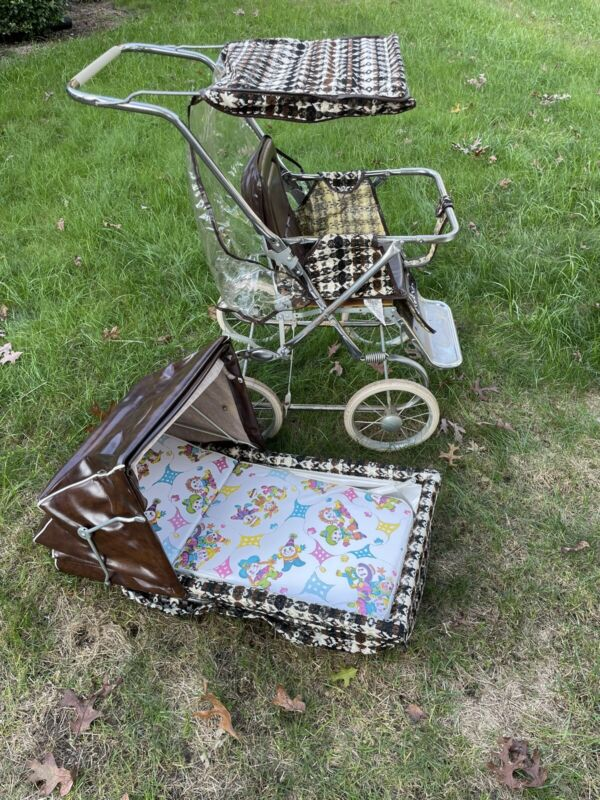 Mid Century Collier Stroller Buggy Pram Vintage Houndstooth Fabric Excellent