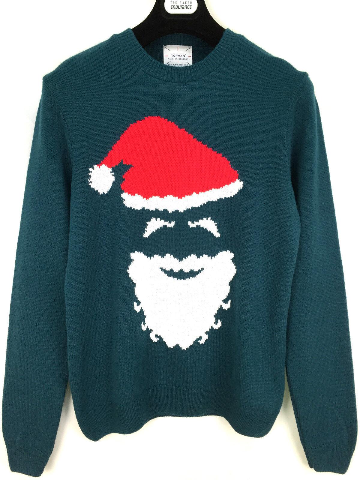 Details about Topman Herren Weihnachten Weihnachtsmann Pullover Sweatshirt Größe XS_S _M_ Grün