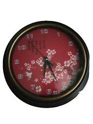 Quartz wall clock Asian Theme Red Cherry Blossoms And Bird