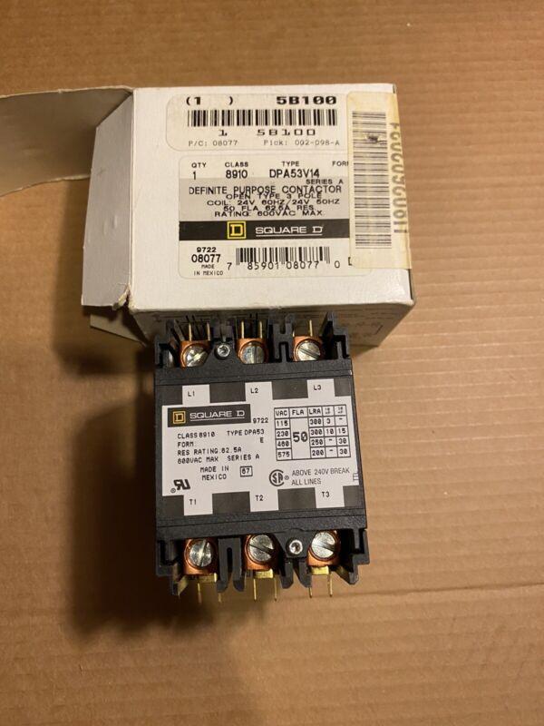 New Square D 8910DPA53V14 Definite Purpose Contactor Open Type 3 Pole