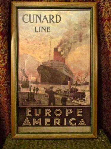 Framed Lithograph of Cunard Line Ship The Aquitania Europe America.
