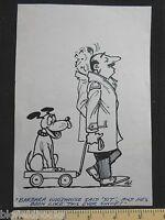 Original Ivan Wilding Obedient Dog On Cart Cartoon (comic Postcard Artist) 1982 -  - ebay.co.uk