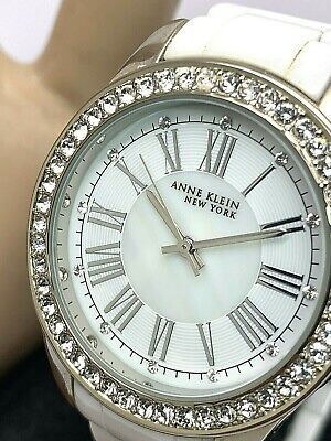 Anne Klein New York Women's White Ceramic Watch 3 Bracelets Set Quartz 12/2257
