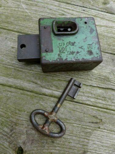 Antique very heavy safe door lock with key working order, collector