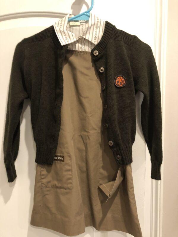 Vintage 1980s Brownie Girl Scout Uniform Jumper Sweater Shirt