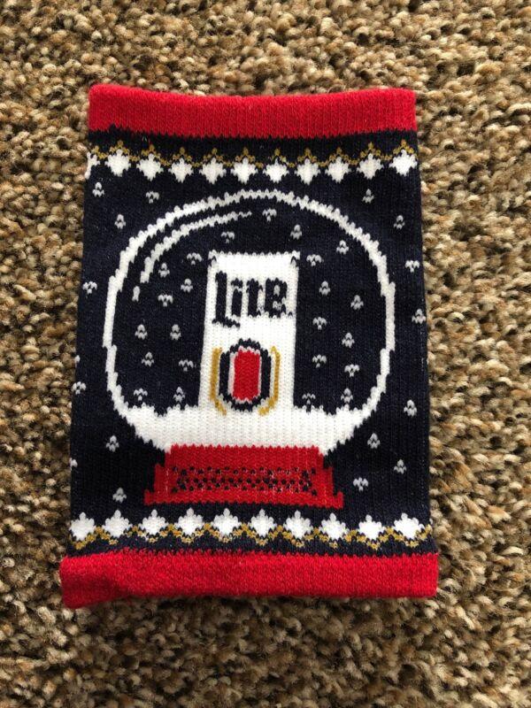 (L@@K) Miller Lite Beer Christmas X Mas Snow globe Bottle Koozie Game Room NEW