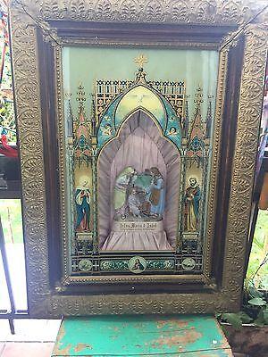 Heiligenbild sakrales Diorama mit Spieluhr Originalzustand