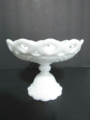 Vintage IMPERIAL  FOOTED  MILK GLASS Pedestal COMPOTE Diamond Point Lace Edge