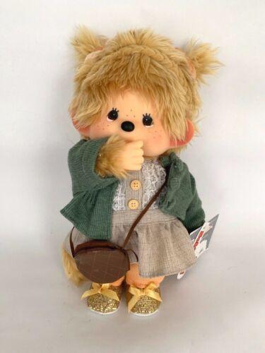 """SEKIGUCHI Monchhichi Plush Stuffed Doll Girl 9"""" Shoulder bag, gold shoes"""