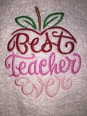 Embroidered White Bathroom Hand Towel Best Teacher Ever- Occupation