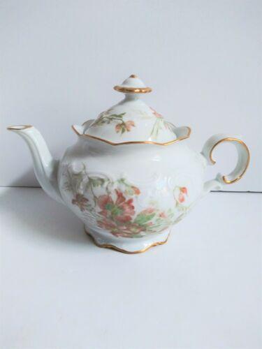 Vintage Bavaria Schumann Arzberg Teapot Floral Embossed Gold Gilt Germany