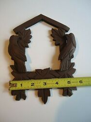 Vintage Cuckoo Clock Carved Wooden Birds and Leaf Frame Chocolate Finish