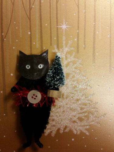 "BLACK CAT 3.5"" Chenille Christmas Ornaments - Cardstock Faces - Set of 2"